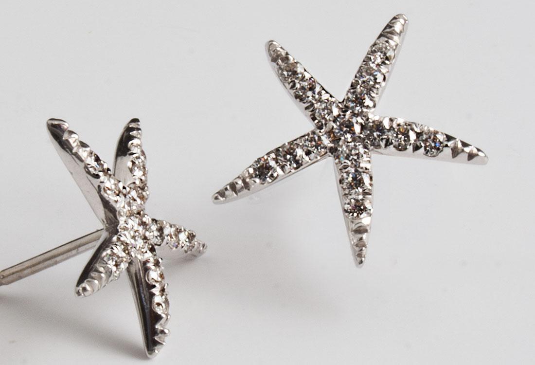 Orecchini Stella Marina tempestati di Diamanti