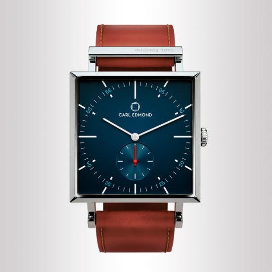 Carl Edmond orologio quadrato uomo in acciaio con quadrante blu navy