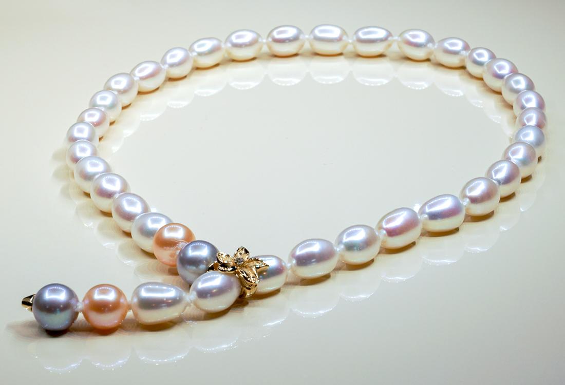 38 selezionate perle di fiume dallo splendido colore cangiante